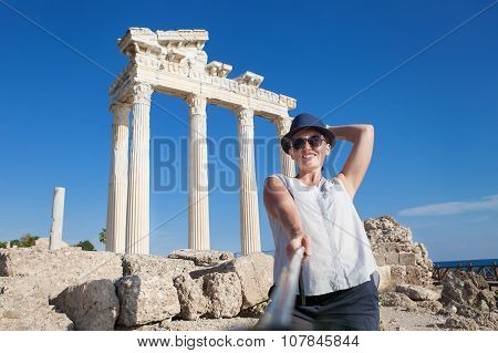 Pretty Young Woman Take A Self Photo On The Antique Temple View