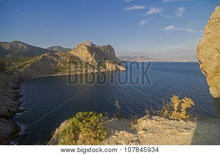 Coastal Cliffs Under The Evening Sun. Crimea.