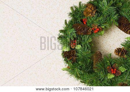 Christmas Wreath On A White Wall