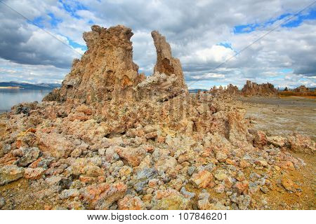 Tall tufa formations near Mono lake California