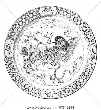 Polychrome porcelain dish (china), vintage engraved illustration. Industrial encyclopedia E.-O. Lami - 1875.