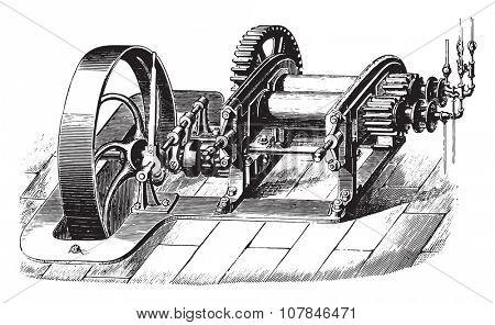 Rolling mill, vintage engraved illustration. Industrial encyclopedia E.-O. Lami - 1875.