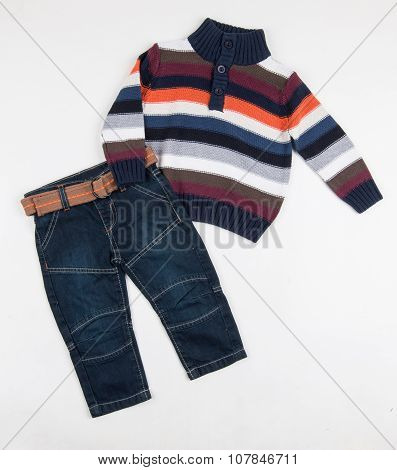 Cute Jeans And Colorful Sweater For Children