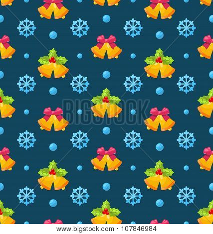 Christmas Seamless Texture with Jingle Bells and Snowflakes