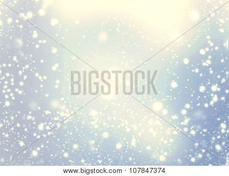 Beautiful Abstract Snowflake And Stars Christmas Background. Golden Lights On Blue Background.