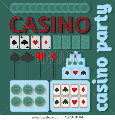 Casino Party Ideas In Flat Style