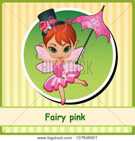 Cute Fairy girl in pink dress