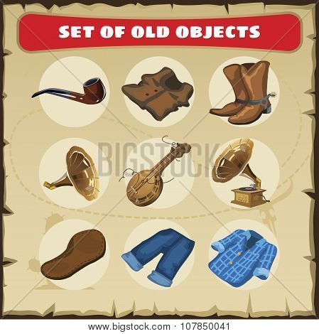Set of old objects, vest, boots and other