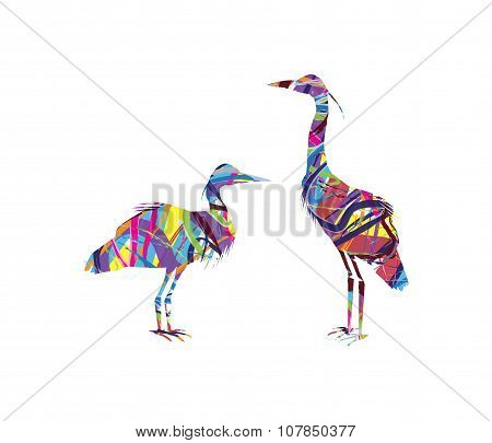 abstract silhouette of herons