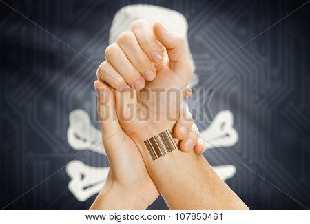 Barcode Id On Hand And Jolly Roger Flag On Background - Symbol Of Piracy