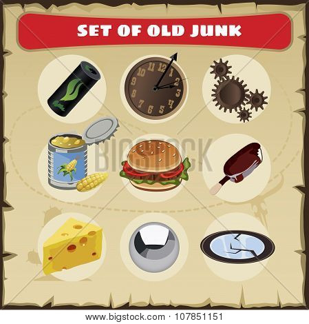 Vector set of junk, 9 icons