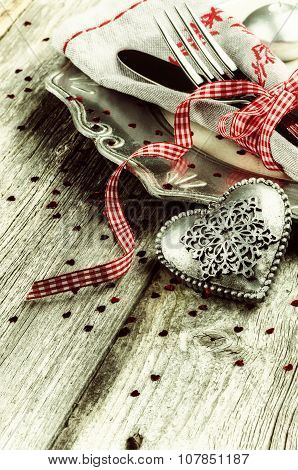 St Valentine's Table Setting With Decorative Heart