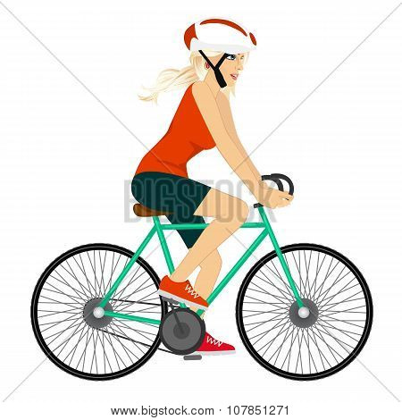 young professional cyclist woman