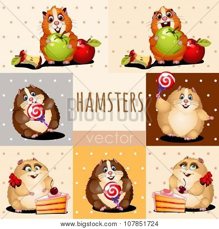 Happy hamsters with apple, cake and candy