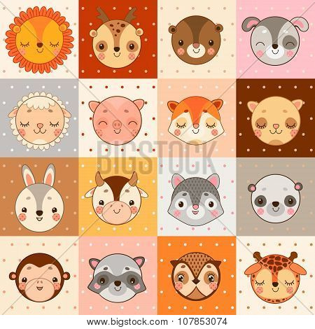 Set of 16 animal faces, cow, monkey and other