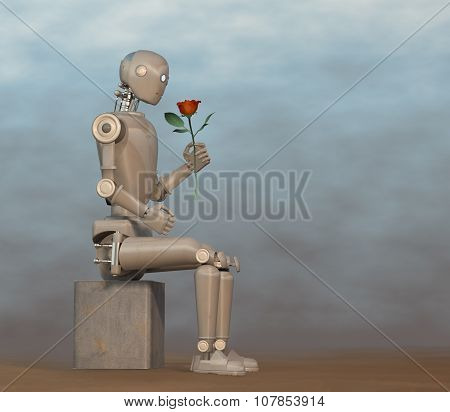 Robot looking at red rose