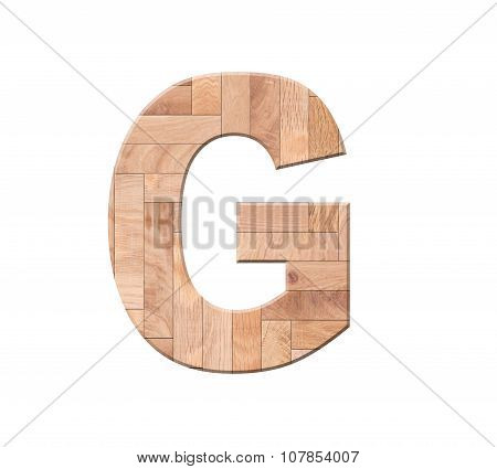 Wooden Parquet Alphabet Letter Symbol - G. Isolated On White Background