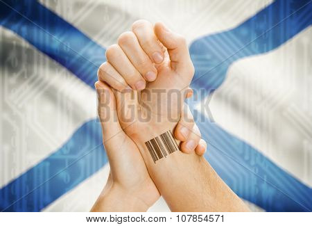 Barcode Id Number On Wrist With Canadian Province Flag On Background - Nova Scotia
