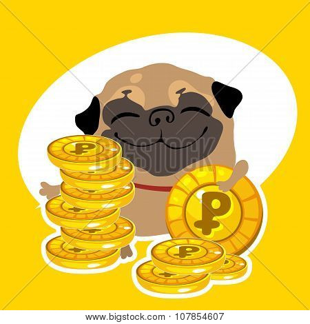 Rich dog pug with gold coins