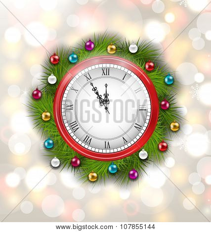 Christmas Wreath with Clock