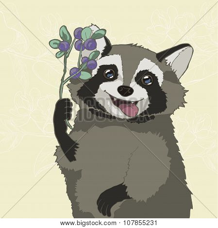 Raccoon with blueberries