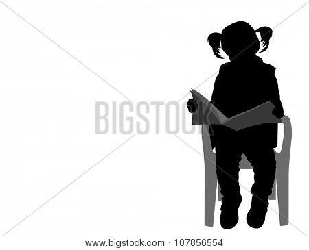 little girl reading a book silhouette