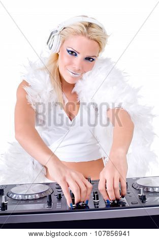 Sexy girl with audio equipment