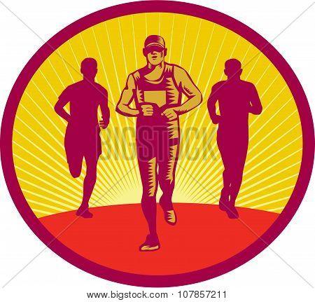 Marathon Runner Circle Woodcut