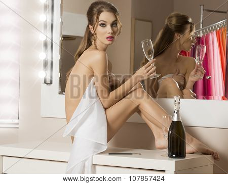 Girl Preparing For Party And Drinking