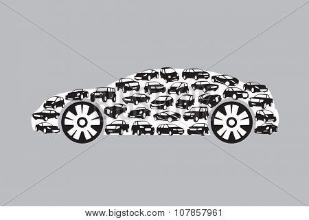 car silhouette consisting of a plurality of vehicles