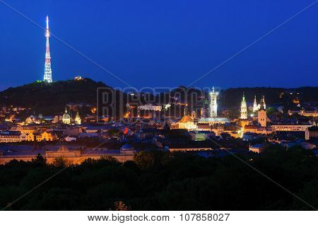 Lviv City Center Night Panorama, Ukraine