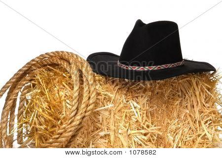 Westamerika Rodeo-Cowboy-Hut und ausgedehntes Seil