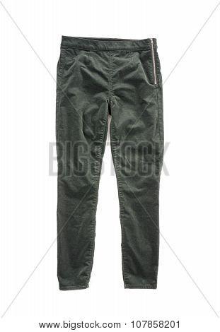 Green Velvet Pants Isolated on White