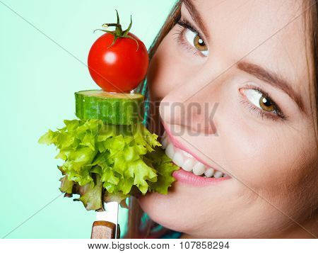 Young Fit Woman With Vegetables.