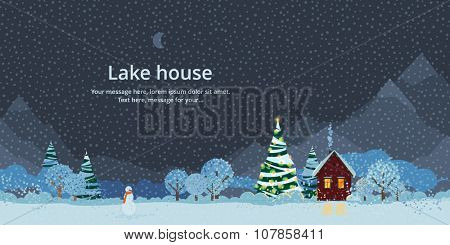 Winter night, house in the mountains, festive fir