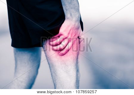 Leg Pain, Man Holding Sore And Painful Muscle