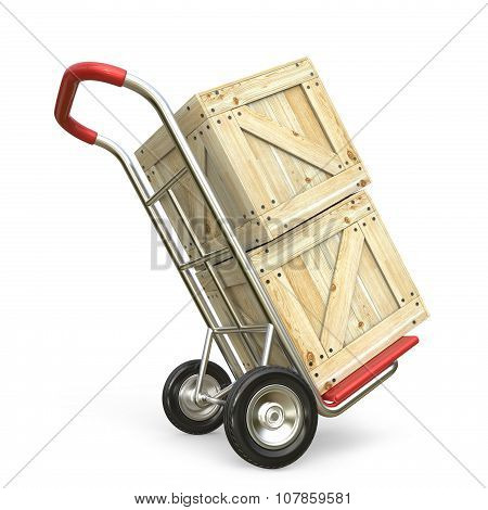 Hand truck with wooden box. Delivery concept. 3D render