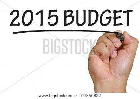 Hand Writing 2015 Budget  Over Plain White Background