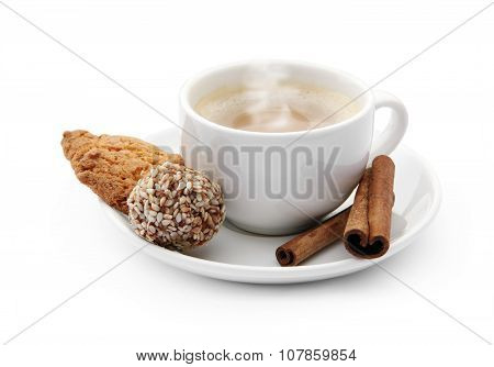 Cup Of Coffee With Steam And Chocolate Candy, Cookie And Cinnamon