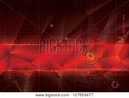 Abstract technology red background.