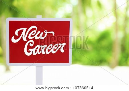 Dream job concept. Wooden sign board on nature background