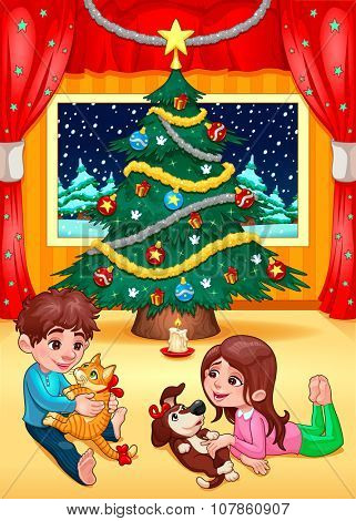 Christmas scene with children and pets. Cartoon vector illustration