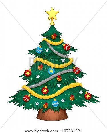 Christmas tree with decorations. Cartoon vector isolated object.