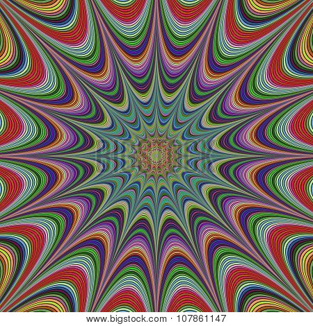 Abstract colorful concentric star fractal design