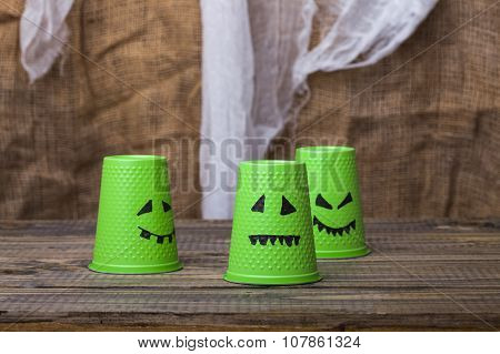 Halloween Scary Faces On Cups