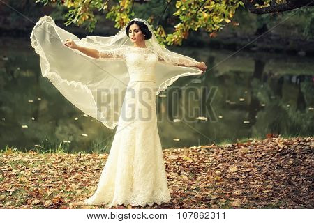 Bride Outdoor In Autumn