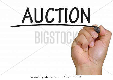 Hand Writing Auction Over Plain White Background