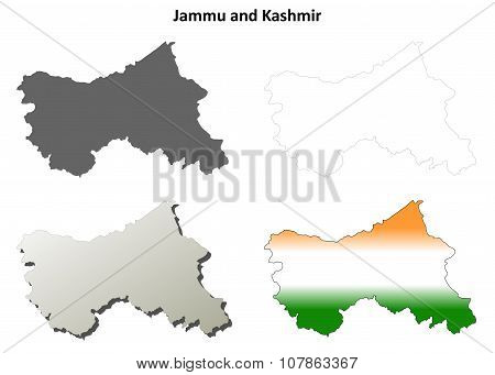 Jammu and Kashmir blank outline map set
