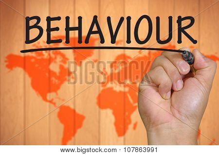 Hand Writing Behaviour Over Blur World Background