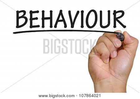Hand Writing Behaviour Over Plain White Background